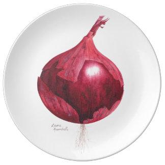 Prato De Porcelana Placa decorativa botânica da cebola vermelha