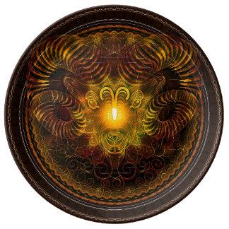 Prato De Porcelana Placa decorativa da porcelana do Aries do zodíaco