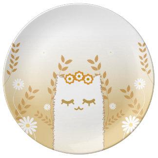 Prato De Porcelana Placa decorativa da porcelana do gato da flor