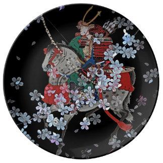 Prato De Porcelana Placa decorativa da porcelana do samurai