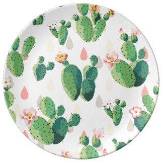 Prato De Porcelana Placa decorativa do cacto bonito bonito do