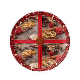 Prato De Porcelana Placa decorativa do pot-pourri do Natal