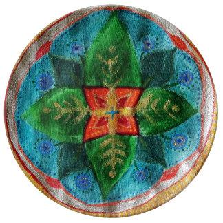Prato De Porcelana Placa decorativa mágica da porcelana da mandala