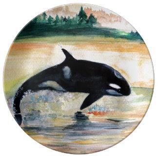 Prato De Porcelana Placa decorativa selvagem da porcelana da baleia