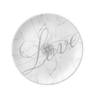 Prato De Porcelana Placa do amor