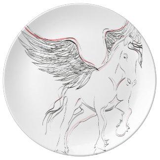 Prato De Porcelana Placa do cavalo de Pegasus