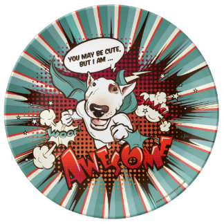 Prato De Porcelana Placa do deco de bull terrier dos desenhos