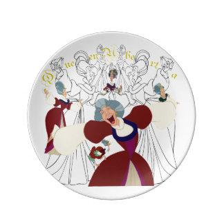 Prato De Porcelana Placa do esboço da porcelana da rainha Uberta