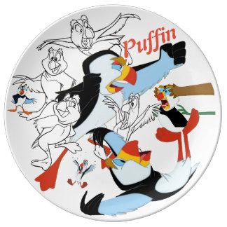 Prato De Porcelana Placa do esboço da porcelana do papagaio-do-mar