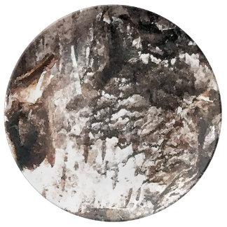 Prato De Porcelana Placa do latido de vidoeiro