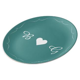 Prato De Porcelana Placa elegante do monograma do coração do