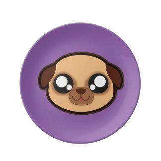 Prato De Porcelana Placa engraçada do cão de Kawaii