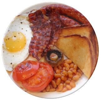 Prato De Porcelana Placa engraçada do pequeno almoço inglês completo