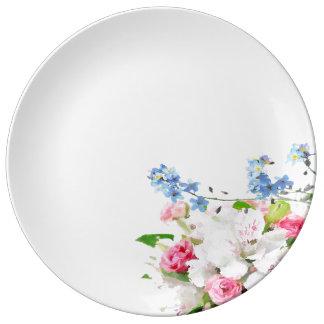 Prato De Porcelana Placa floral da aguarela