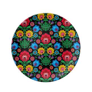 Prato De Porcelana Placa floral da meia-noite aciganada da porcelana