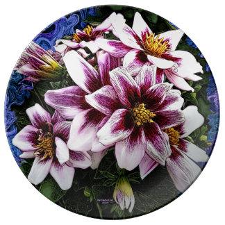Prato De Porcelana Placa floral da porcelana do desenhista por oásis