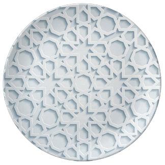 Prato De Porcelana placa geométrica marroquina inspirada islâmica do
