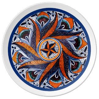 Prato De Porcelana Placa italiana do século XV
