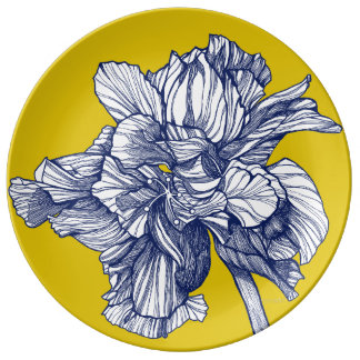 Prato De Porcelana Placa mediterrânea da porcelana do hibiscus
