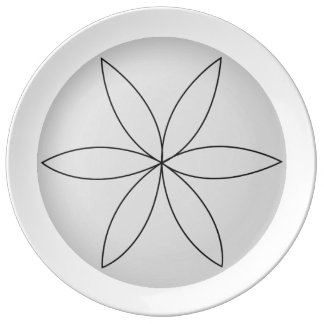 Prato De Porcelana Placa reversa da flor 2 do torno
