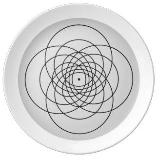 Prato De Porcelana Placa reversa da flor 4 do torno