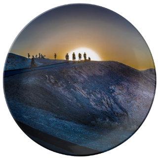 Prato De Porcelana Por do sol do ponto do zabriskie do Vale da Morte