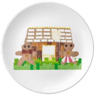 Prato De Porcelana Porcelana do casal da casa de pão-de-espécie