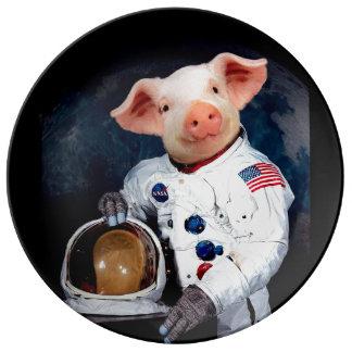 Prato De Porcelana Porco do astronauta - astronauta do espaço