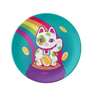 Prato De Porcelana Pote de boa sorte de Maneki Neko do gato de ouro