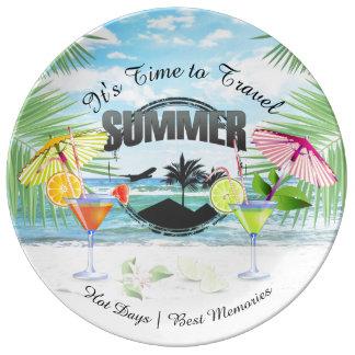 Prato De Porcelana Praia tropical, férias de verão   personalizada