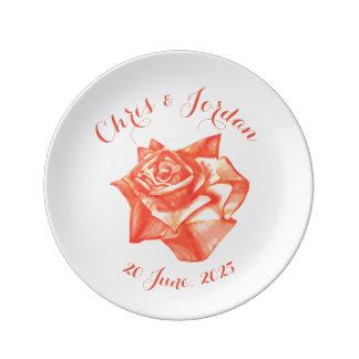 Prato De Porcelana Presente de casamento elegante simples do rosa do