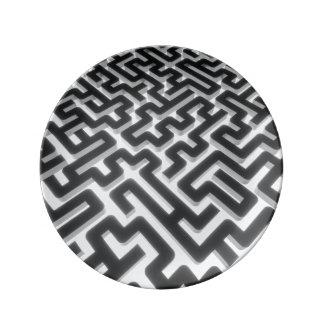 Prato De Porcelana Preto de prata do labirinto