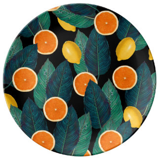 Prato De Porcelana preto dos limões e das laranjas