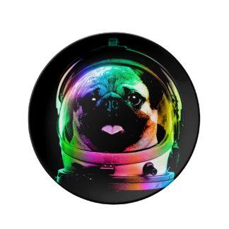 Prato De Porcelana Pug do astronauta - pug da galáxia - espaço do pug