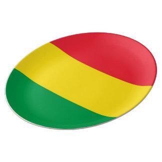 Prato De Porcelana Rasta colore o teste padrão vermelho amarelo verde