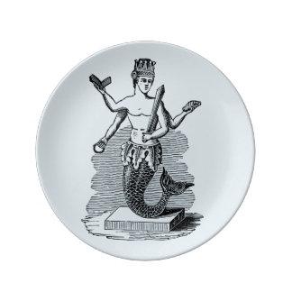 Prato De Porcelana Rei da placa da porcelana da sereia