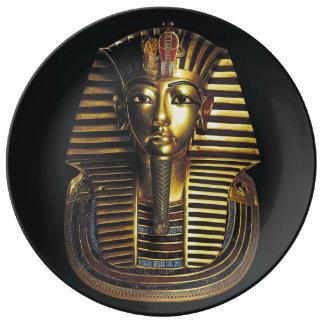Prato De Porcelana Rei Tutankhamun, máscara do ouro