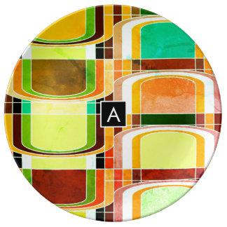 Prato De Porcelana Retro Funky colorido inspirado