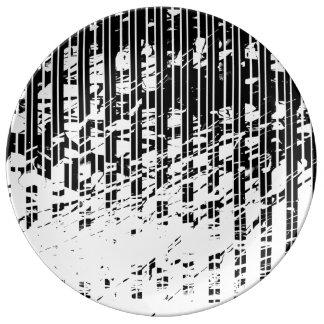 Prato De Porcelana Riscas preto e branco afligidas