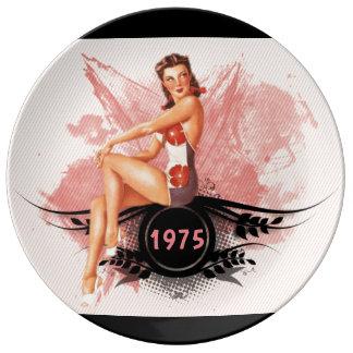 Prato De Porcelana Rosa do Pinup
