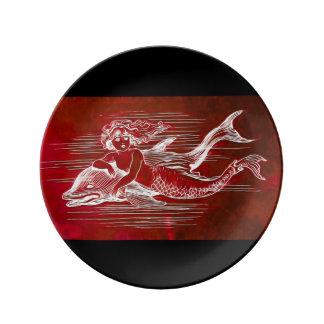 Prato De Porcelana Sereia & golfinho em uma placa da porcelana