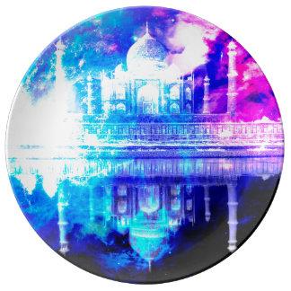 Prato De Porcelana Sonhos de Taj Mahal do céu da criação
