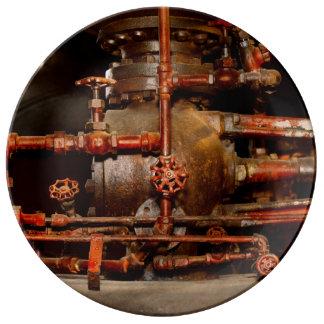 Prato De Porcelana Steampunk - sonhos de tubulação