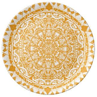 Prato De Porcelana Teste padrão alaranjado da mandala