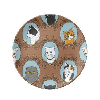 Prato De Porcelana Teste padrão bonito dos gatos