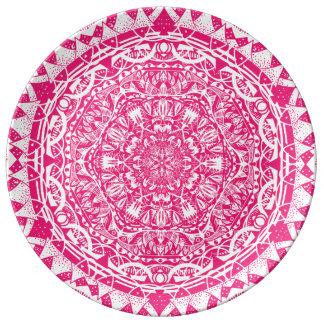 Prato De Porcelana Teste padrão cor-de-rosa da mandala