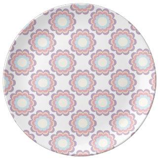 Prato De Porcelana Teste padrão de flor da cor Pastel