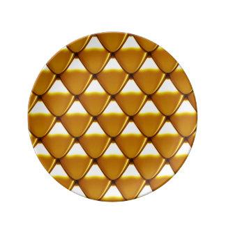 Prato De Porcelana Teste padrão elegante da escala do ouro
