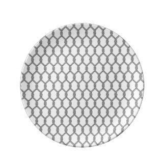 Prato De Porcelana Teste padrão náutico preto e branco da corda