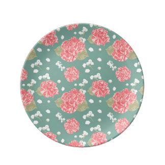 Prato De Porcelana Teste padrão sem emenda da flor doce do cravo